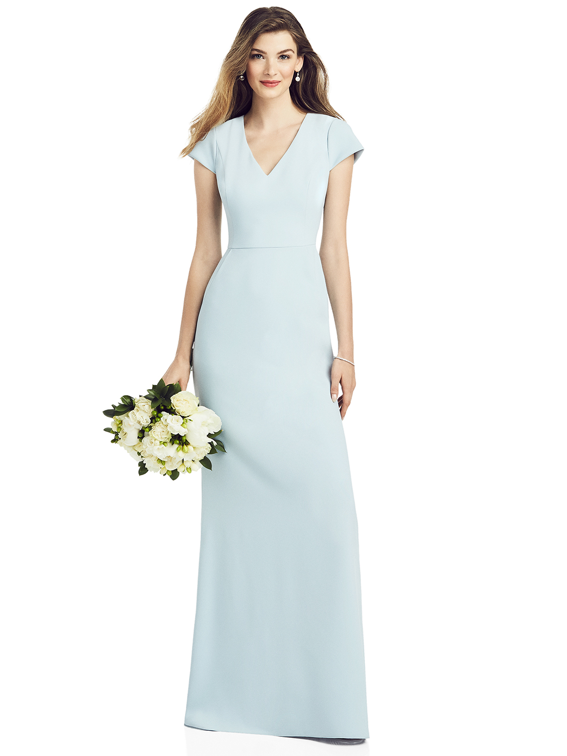 After Six Bridesmaids SPRING 2020 - 6825 - Cap Sleeve A-line Crepe Gown with Pockets