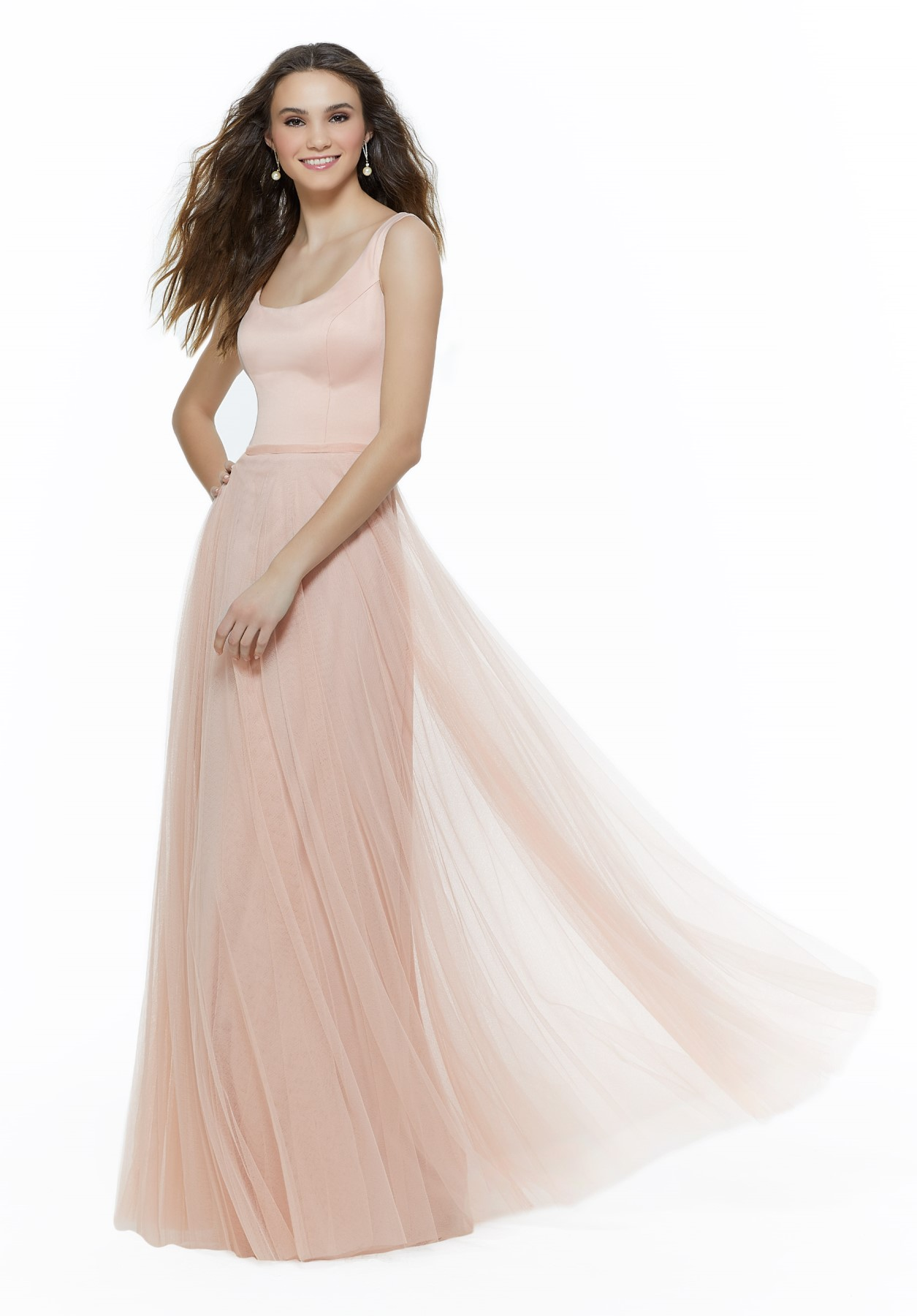 Mori Lee BRIDESMAIDS FALL 2019 Collection: 21641 - Classic Satin and English Net Bridesmaid Dress with Scoop Neck